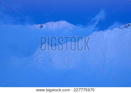 Winter landscape at Balea Lake, Fagaras Mountains, Romania, Europe