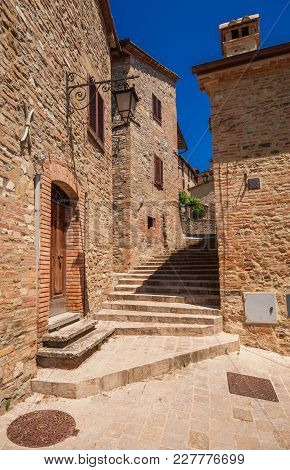 Medieval Houses And Lanes In The Historic Center Of Montone, A Small Town In The Umbria Countryside