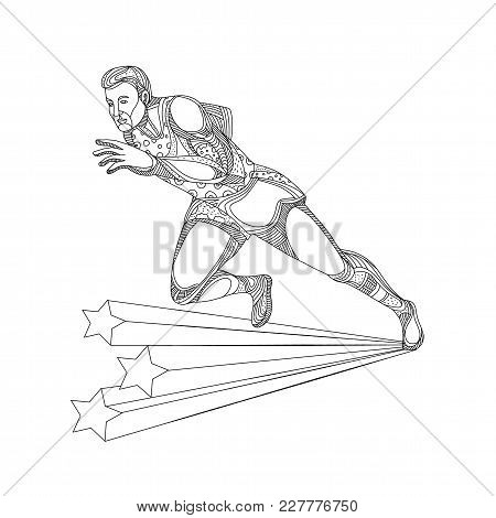 Doodle Art Illustration Of Of Track And Field Athlete Running Sprinting In Black And White Done In M