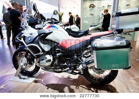 Moscow, Russia - August 25: Grey And White Motorbike Bmw On Display At Moscow International Exhibiti