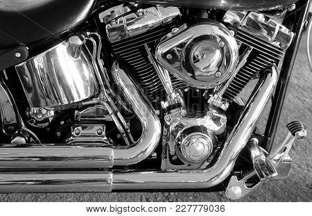 Shiny Chromium Plated V-shaped Engine Stock Photo