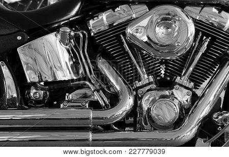 Chromium Plated V Type Motorbike Engine Stock Photo
