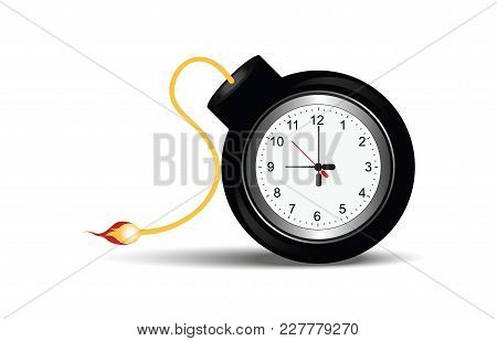 Burning Bomb With Clock Timer Isolated On White In Flat Design Vector Illustration.