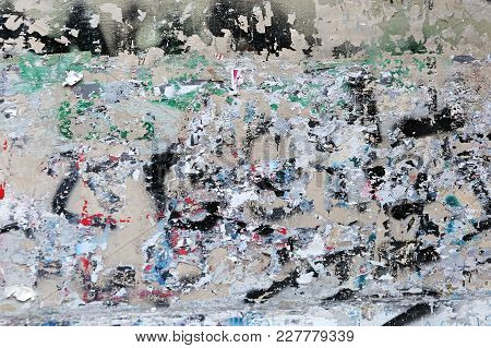 Grunge Wall After Adhesive Paper Damage Background