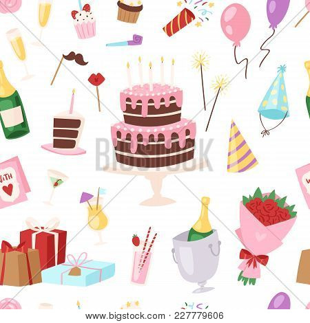 Birthday Kids Party Vector Cartoon Childs Happy Birth Cake Or Cupcake Celebration With Gifts And Hap