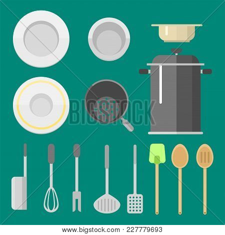 Kitchen Dishes Vector Flat Icons Isolated On Background. Everyday Dishes Furniture Collection. Seaso