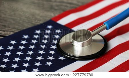 Stethoscope For Doctor And American Flag