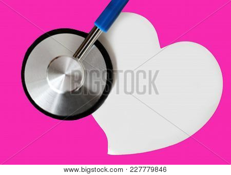 Stethoscope For Doctor And Medical Nursing People In Hospital, Healing Of Patients. Pink Background