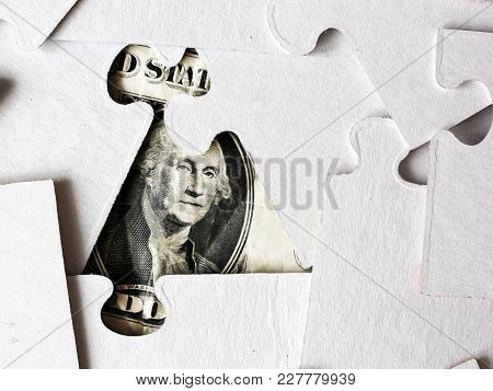 Dollar Puzzle, Business Concept Of Solution