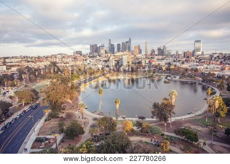 Stunning Aerial View Of Macarthur Park And Downtown Los Angeles From A Concrete Shot From American C