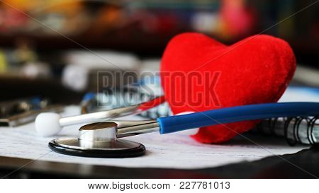 Stethoscope For Doctor And Red Heart
