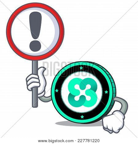 With Sign Ethos Coin Character Cartoon Vector Illustration