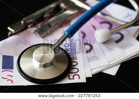 Medical Stethoscope On Euro Bills