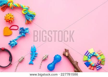 Pet Accessories. Toys For Cat And Dog Near Collar On Pink Background Top View.