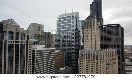 Architecture Office Buildings Skyscrapers Skyline In The Chicago Loop Downtown District Near The Bra