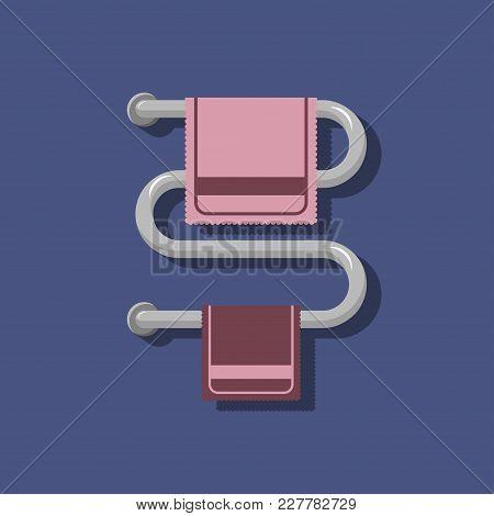 Pink And Purple Towel Rails On The Heated Towel Rail