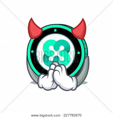 Devil Ethos Coin Mascot Cartoon Vector Illustration