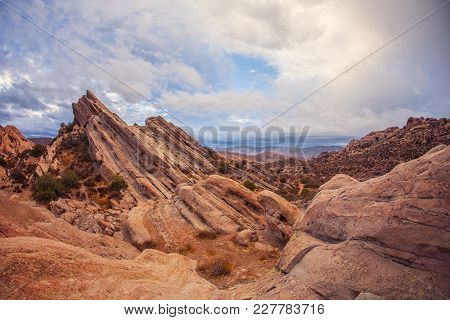 Stunning Red Rocky Mountains Of Geological Anomaly Vasquez Rocks, Los Angeles County, California, Us
