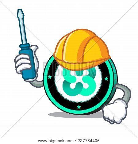 Automotive Ethos Coin Mascot Cartoon Vector Illustration