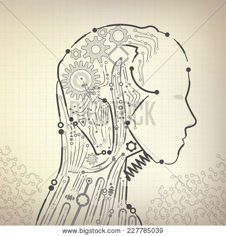 Vector Of Robot Or Cyborg With Vintage Blueprint