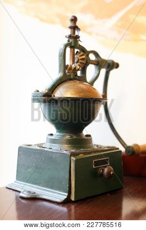 Old Coffee Grinder With Drawer. Retro Collection