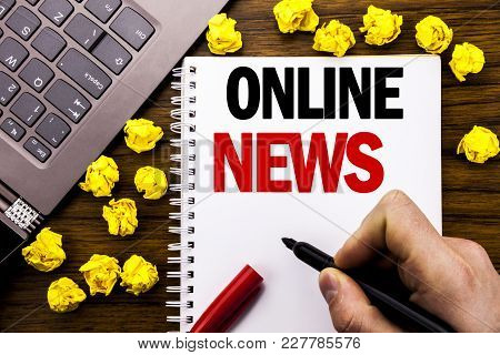 Conceptual Hand Writing Text Caption Online News. Business Concept For Online Newspaper Article Writ