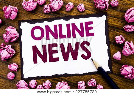 Hand Writing Text Caption Inspiration Showing Online News. Business Concept For Online Newspaper Art