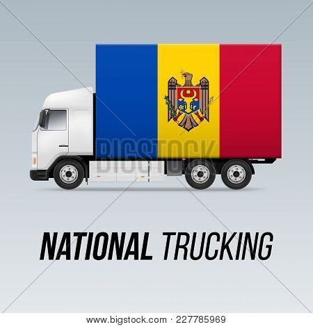 Symbol Of National Delivery Truck With Flag Of Moldova. National Trucking Icon And Moldovan Flag