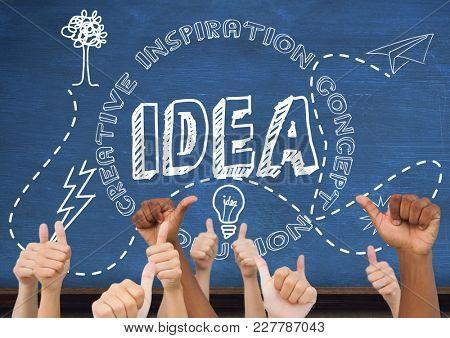 Digital composite of Thumbs up idea, blue blackboard background