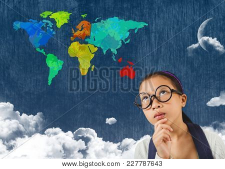 Digital composite of Woman looking at Colorful Map with cloudy background
