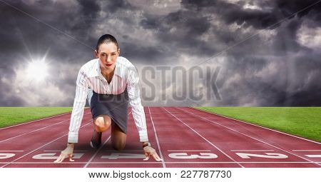 Digital composite of Composite image of woman at sport