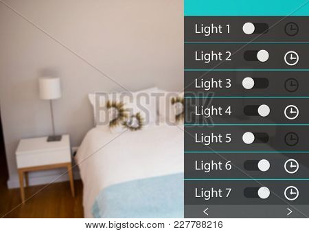 Digital composite of Home automation system lights App Interface