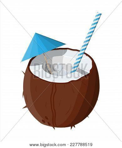 Half Coconut On White. Cold Drink Milk, Alcohol Cocktail. Umbrella And Ice Cubes. Refreshment Beach