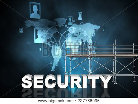 Digital composite of Security Text with 3D Scaffolding and world network interface