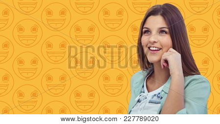 Digital composite of Woman hand on head against yellow emoji pattern