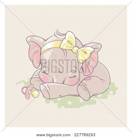 Cute Little Newborn Baby Elephant Girl Sleeping. Cartoon Character Of Baby Girl Of 1 - 6 Months Old,