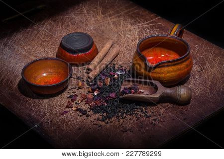 Flower And Cinnamon Tea Prepared For Brewing