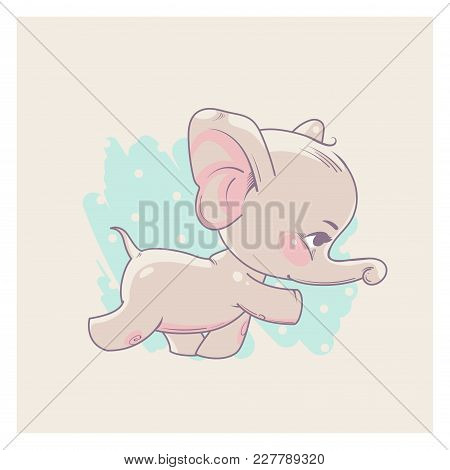 Cute Little Newborn Baby Elephant Girl Learning To Walk. Cartoon Character Of Baby Girl Of 3-9 Month