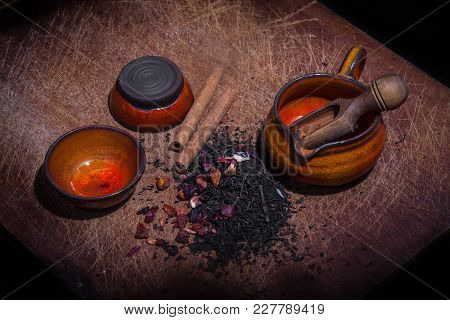 Candied Fruit And Cinnamon Added To Tea