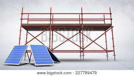 Digital composite of 3D solar panels against scaffolding in white room