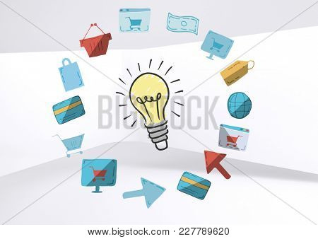 Digital composite of Colourful lightbulb with online shopping drawings graphics