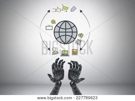 Digital composite of Android hands open with online business shop graphic drawings