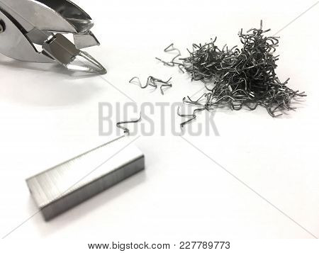 Staple Stapler And Staples Are Pulled Out.