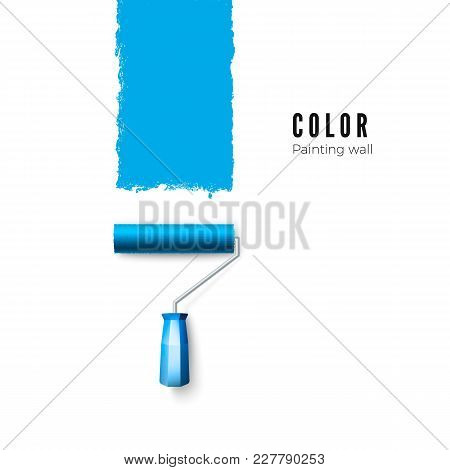 Paint Roller Brush. Blue Paint Texture When Painting With A Roller. Vector Illustration Isolated On
