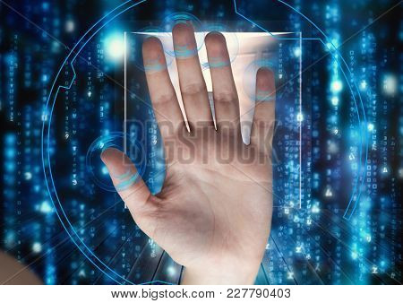 Digital composite of hand scan with circle on the fingers. Raining of binary code
