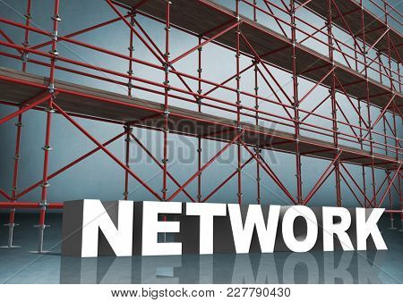 Digital composite of 3D word network in front of scaffolding in blue room