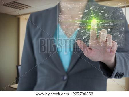 Digital composite of fingerprint scane with green flare and c9onnections