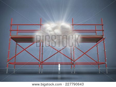 Digital composite of Cloud and flare against scaffolding in blue room