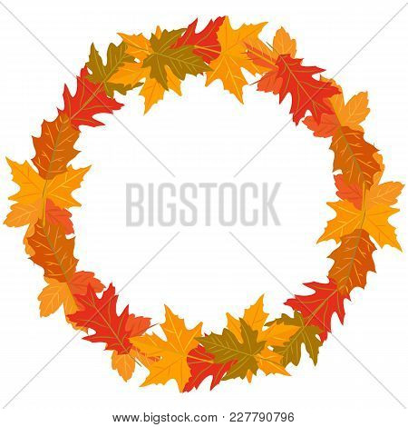 Vector Illustration Round Wreath Of Autumn Leaves Yellow Green Red Brown Color On A White Background