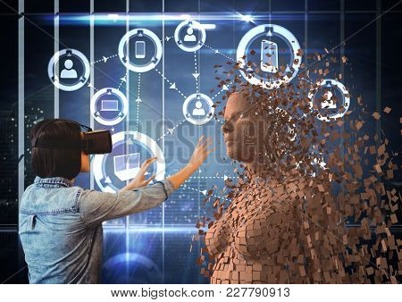 Digital composite of Woman wearing VR glasses while touching 3d human